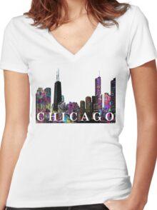 Chicago  Women's Fitted V-Neck T-Shirt