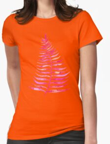 Pink Palm Leaf Womens Fitted T-Shirt