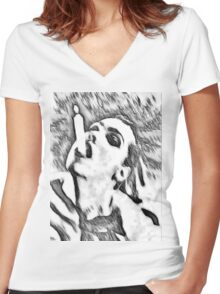Need a light? - black and white Women's Fitted V-Neck T-Shirt