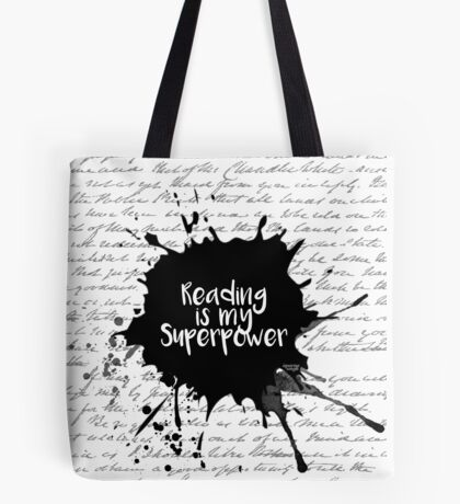 Reading is my Superpower (White) Tote Bag
