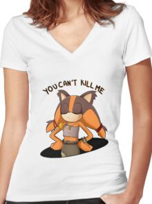 (Sonic Boom) Sticks the Badger - You Can't Kill Me Women's Fitted V-Neck T-Shirt