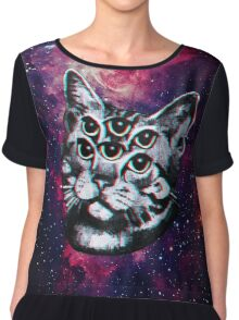 Psychedelic Cat (3D vintage effect) Chiffon Top