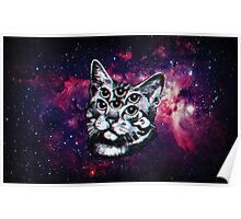 Psychedelic Cat (3D vintage effect) Poster
