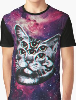 Psychedelic Cat (3D vintage effect) Graphic T-Shirt