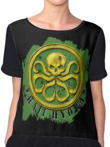 Hydra Gold on Green Chiffon Top