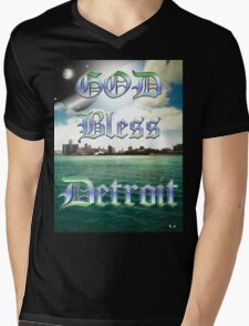 GOD BLESS DETROIT Mens V-Neck T-Shirt