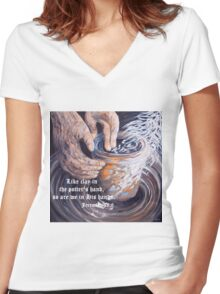 In the Potter's Hands with Scripture Women's Fitted V-Neck T-Shirt