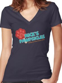 Nick's Pawpsicles Women's Fitted V-Neck T-Shirt