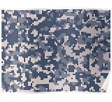 Blue Pixel Camouflage Pattern Poster