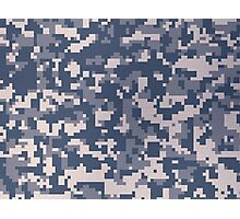 Blue Pixel Camouflage Pattern Photographic Print