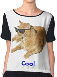 Cool Cat With Sunglasses Chiffon Top