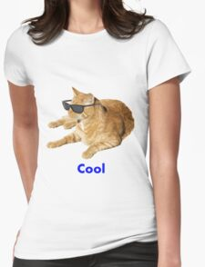Cool Cat With Sunglasses Womens Fitted T-Shirt