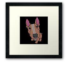 Sporty Bull Terrier Tan and White Framed Print