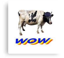 wow cool cow with hat and glasses Canvas Print