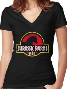 Jurassic Parks and Rec Distressed  Women's Fitted V-Neck T-Shirt