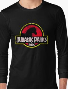 Jurassic Parks and Rec Distressed  Long Sleeve T-Shirt