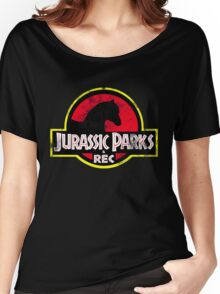 Jurassic Parks and Rec Distressed  Women's Relaxed Fit T-Shirt