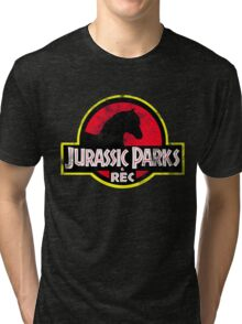 Jurassic Parks and Rec Distressed  Tri-blend T-Shirt