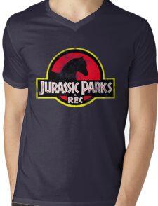 Jurassic Parks and Rec Distressed  Mens V-Neck T-Shirt