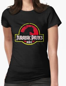Jurassic Parks and Rec Distressed  Womens Fitted T-Shirt