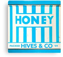 1950s Blue and White Striped Honey Tin Label Canvas Print