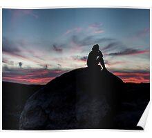 contemplative desert sunset Poster