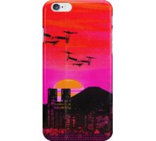 80's city helicopters sunset iPhone Case/Skin