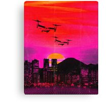 80's city helicopters sunset Canvas Print