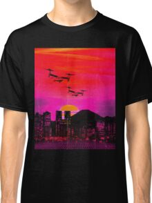 80's city helicopters sunset Classic T-Shirt