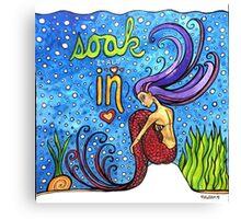Soak It All In: Magical Mermaid Original Watercolor Illustration Canvas Print