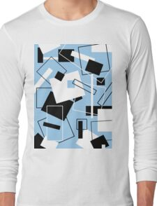 Black White & Blue 60's Style Long Sleeve T-Shirt