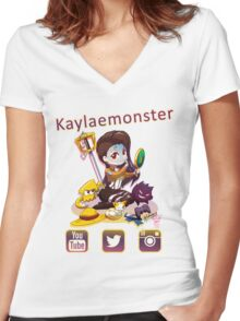 Kayla_social icons Women's Fitted V-Neck T-Shirt