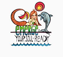 Emerge: Your Soul is Ready: Original Mermaid Dolphin Watercolor Illustration Womens Fitted T-Shirt