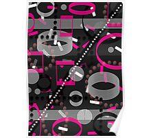 Florescent Pink Black Vector  Poster
