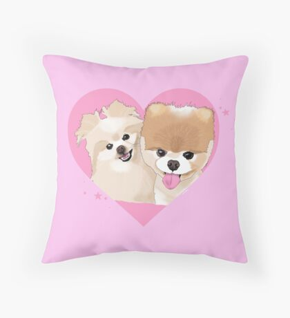 Pomeranian Pups Throw Pillow