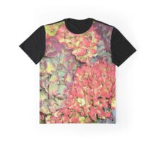 Autumn Hydrangea flowers, in greens, russets and purples. Graphic T-Shirt