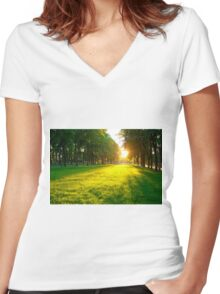 The lawn in the city park at sunset on a summer day Women's Fitted V-Neck T-Shirt