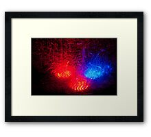 colored rain at night Framed Print