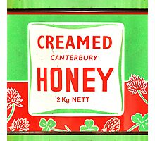 Vintage Lime Green & Red Honey Packaging Design Photographic Print