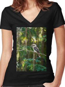Kookaburra gracefully sitting in a tree Women's Fitted V-Neck T-Shirt