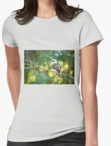 Kookaburra gracefully sitting in a tree Womens Fitted T-Shirt