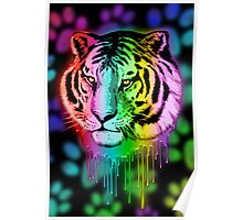 Tiger Neon Dripping Rainbow Colors Poster