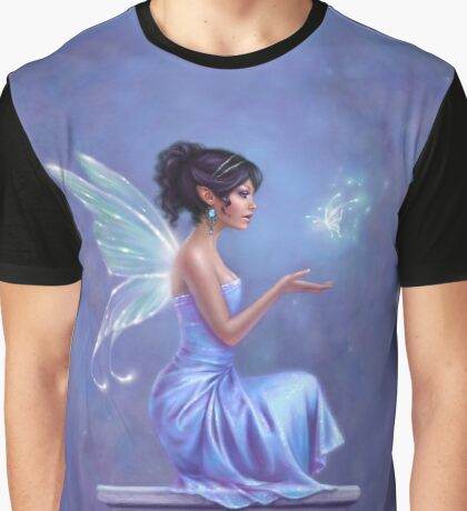 Opalite Fairy with Glowing Butterfly Graphic T-Shirt