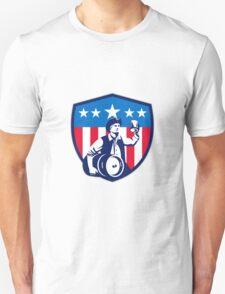 American Patriot Beer Keg Flag Crest Retro Unisex T-Shirt