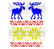 Elk pattern Changeable background colour Poster