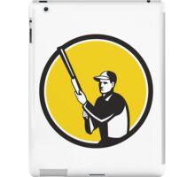 Hunter Holding Shotgun Rifle Circle Retro iPad Case/Skin