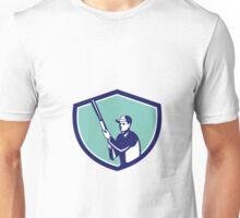 Hunter Holding Shotgun Rifle Crest Retro Unisex T-Shirt