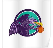 Dragon Fire Holding Basketball Circle Retro Poster