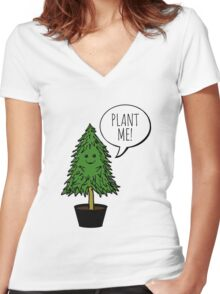 Plant More Trees Women's Fitted V-Neck T-Shirt