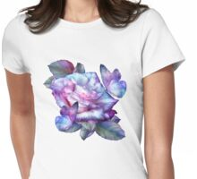 Purple Rose And Butterflies Womens Fitted T-Shirt